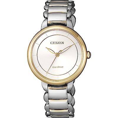 CITIZEN 星辰 L系列光動能極簡女錶(EM0674-81A)-銀x金圈/30.5mm