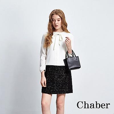 Chaber巧帛 領結綁帶拼接洋裝