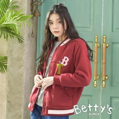 betty's貝蒂思 跳色內鋪毛棒球外套(暗紅色)