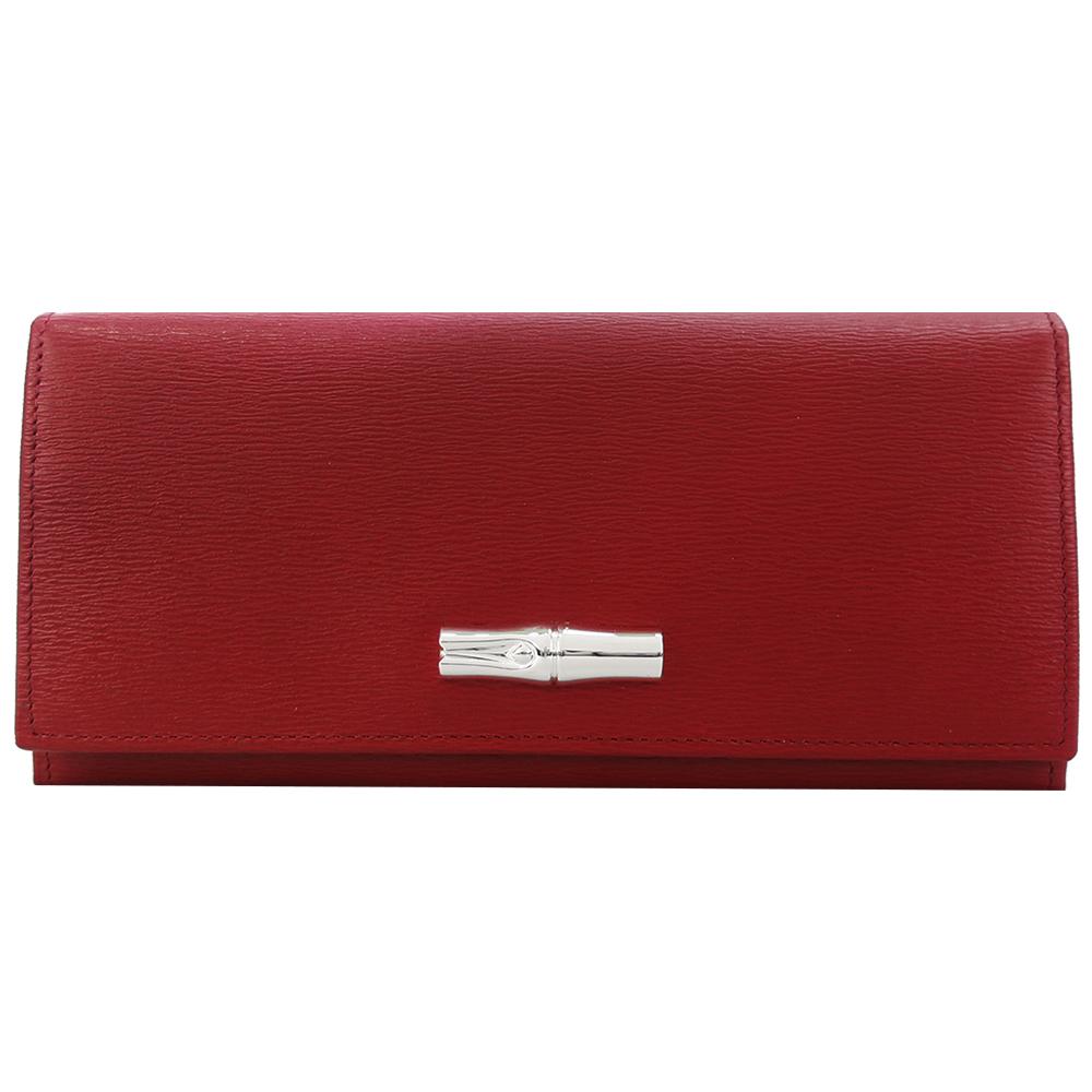 Longchamp Roseau竹節翻蓋長夾-紅色LONGCHAMP