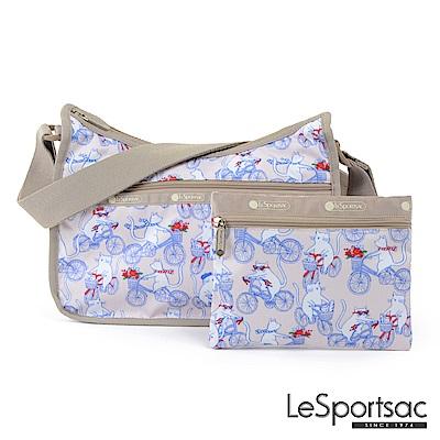 LeSportsac - Standard雙口袋斜背包-附化妝包(自行車日)