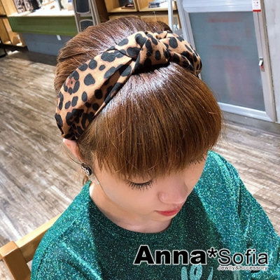 【滿額再7折】AnnaSofia 暈染點豹紋中央結 韓式寬髮箍(駝系)