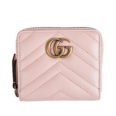 GUCCI GG Marmont系列絎縫紋牛皮金屬雙G LOGO 拉鍊零錢短夾(淺粉)
