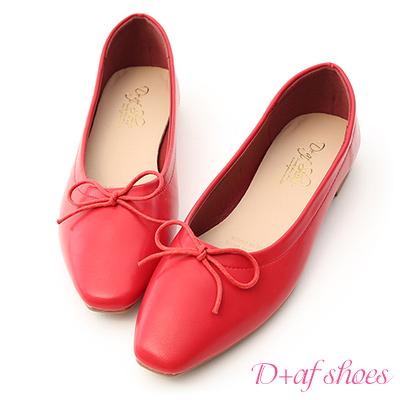 D+AF 典雅美感.小方頭芭蕾平底娃娃鞋*紅