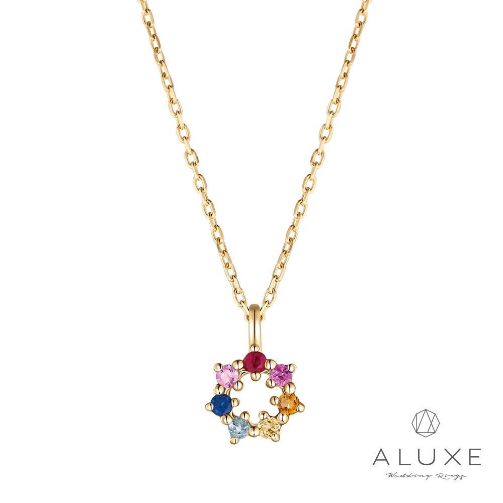 ALUXE 亞立詩 10K繽紛彩色寶石項鍊