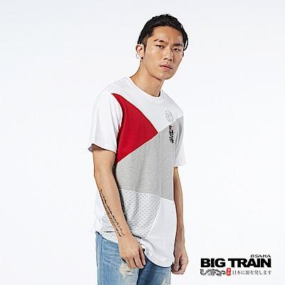 BIG TRAIN 武將配色長版修身短袖-男-白色