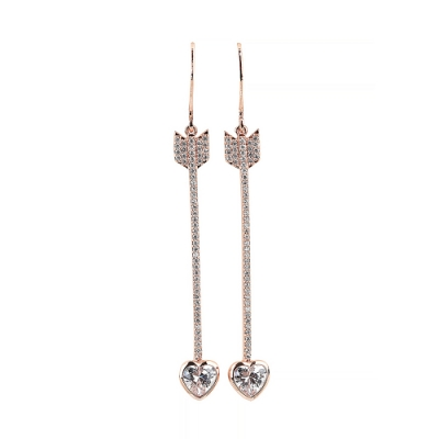 kate spade經典愛心弓箭設計鑽鑲飾穿式耳環(玫瑰金)