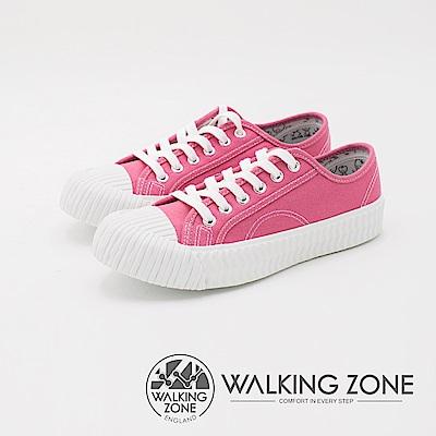 WALKING ZONE 帆布系列 防潑水簡約休閒餅乾鞋 女鞋-桃粉
