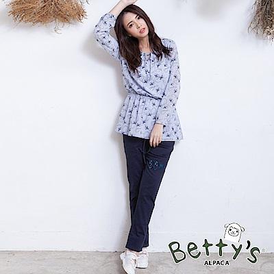 betty's貝蒂思 腰間鬆緊抽繩口袋長褲(深藍)