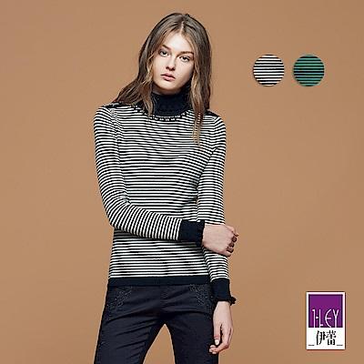 ILEY伊蕾 優雅條紋翻領羊毛針織上衣(黑/綠)