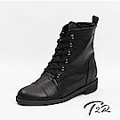 【T2R】真皮綁帶韓版個性短靴-黑-增高6.5公分