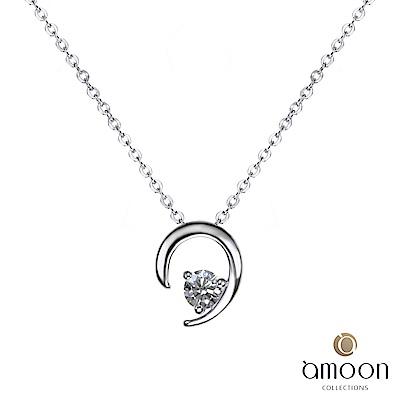 amoon 永恆回憶系列 傾聽 鉑金鑽石墜子 送項鍊