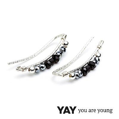 YAY You Are Young Black Swan 寶石貼合耳廓耳環 黑鑽X星辰豆豆