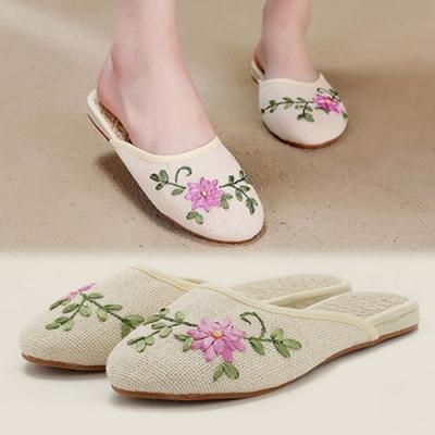KEITH-WILL時尚鞋館 精緻刺繡亞麻拖鞋-米白色