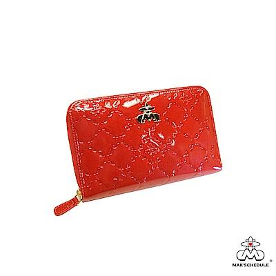 MAK SCHEDULE- 有魚系列2 菱形壓魚紋珍珠牛皮全拉式護照寬版長夾