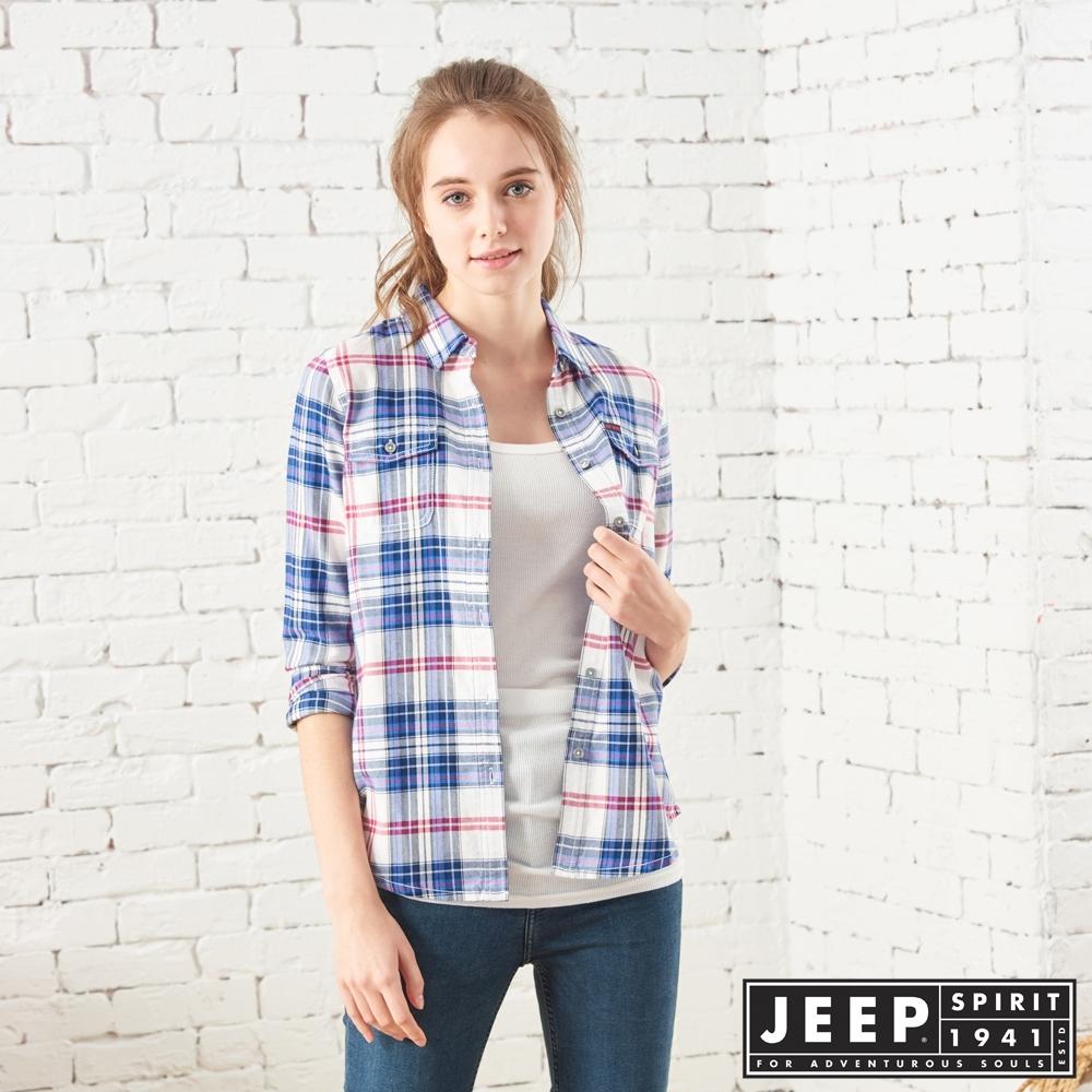 JEEP 女裝 雙色格紋長袖襯衫-藍格紋