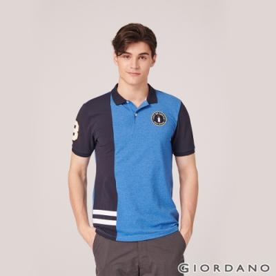 GIORDANO 男裝撞色企鵝刺繡彈性萊卡POLO衫 -31雪花鯨魚藍/標誌海軍藍
