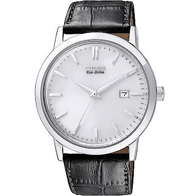 CITIZEN 光動能質感簡約真皮手錶(BM7190-05A)-銀X黑/40mm