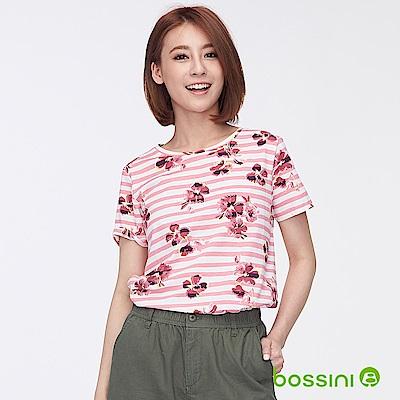 bossini女裝-圓領全版印花條紋上衣粉色