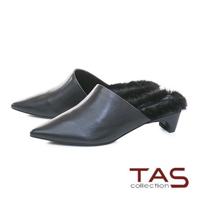 TAS柔軟貂毛素面牛皮粗跟穆勒鞋-時尚黑