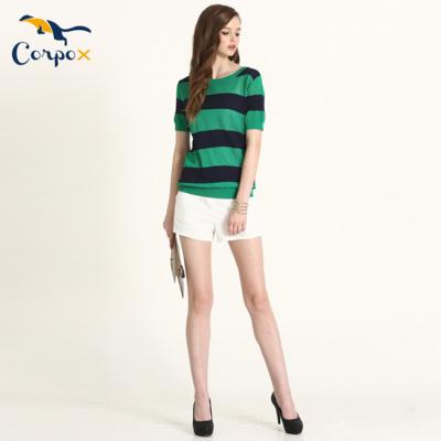 CorpoX 涼爽配色寬條圓領針織衫-綠