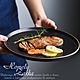 Homely Zakka 北歐輕奢風金邊黑色磨砂陶瓷餐具/牛排盤/西餐盤_大圓平盤25cm product thumbnail 1
