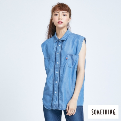 SOMETHING 牛仔個性風無袖襯衫-女-中古藍