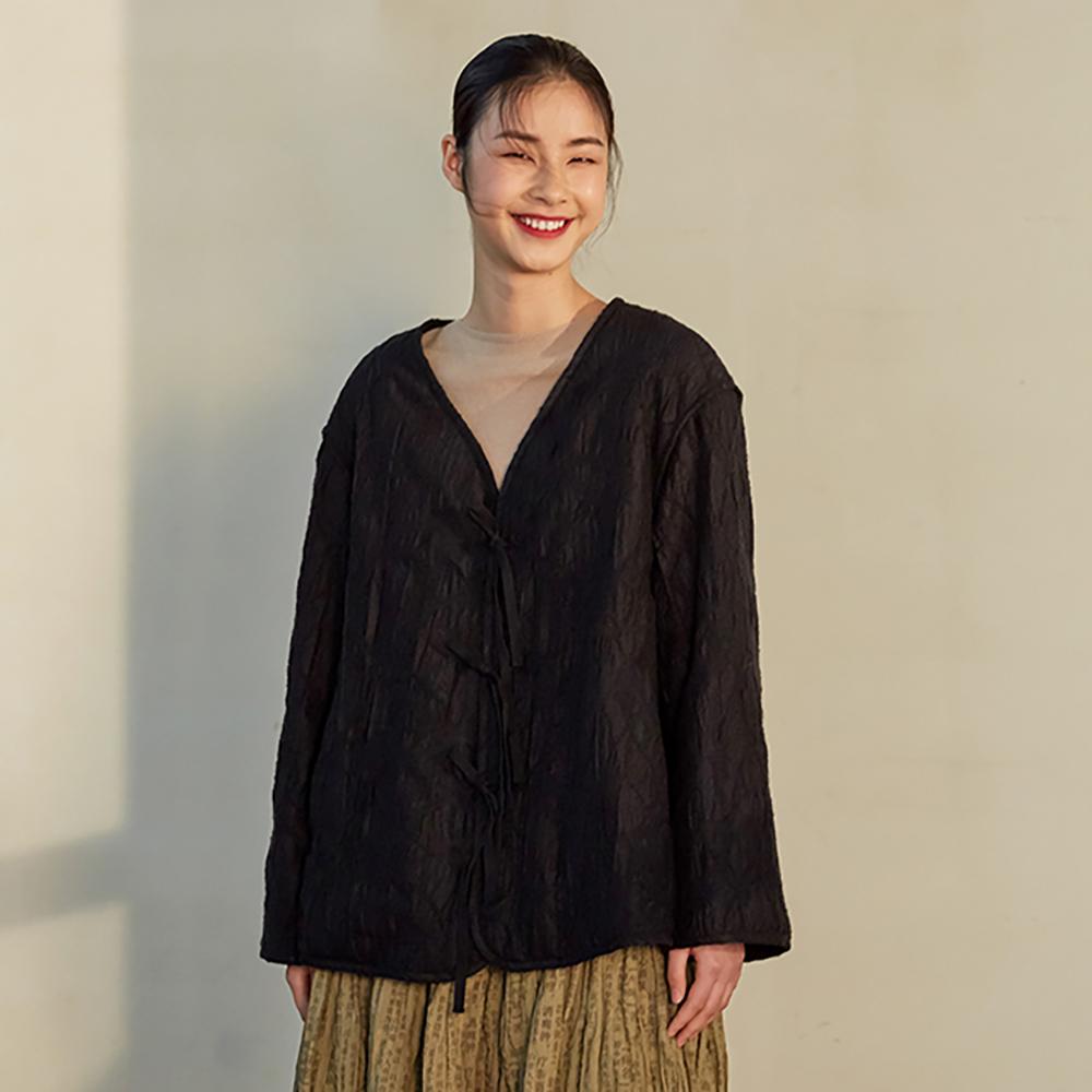 旅途原品_夜華_原創設計寬鬆A型磨毛肌理中式棉服-黑色
