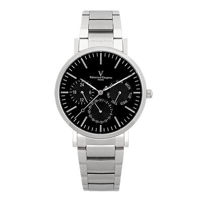Valentino Coupeau 范倫鐵諾 古柏 時尚三眼腕錶 (銀殻/鋼帶/黑面)