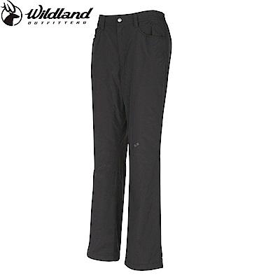 【Wildland 荒野】女防風防潑水保暖長褲黑
