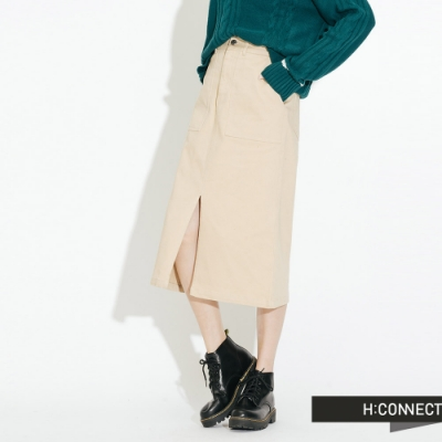 H:CONNECT 韓國品牌 女裝-雙口袋前開岔中長裙-卡其色