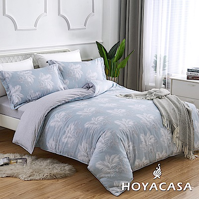 HOYACASA悠夢影 加大四件式純棉兩用被床包組(天絲入棉30%)