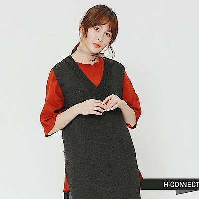 H:CONNECT 韓國品牌 女裝-V領長版針織背心-深灰