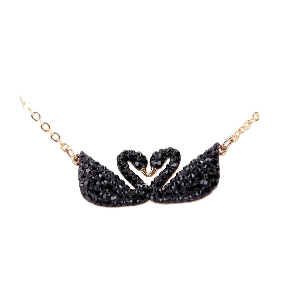 SWAROVSKI 施華洛世奇 Swan 水晶黑天鵝玫瑰金項鍊
