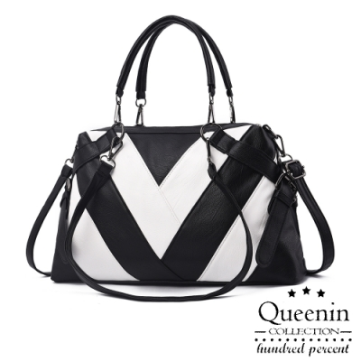 DF Queenin日韓 - 歐美皮質感幾何撞色拼接3WAYS手提斜背包-共3色