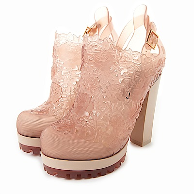 MELISSA 簍空立體雕花高跟踝靴-粉膚