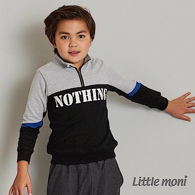 Little moni 拼接立領標語上衣(共2色)