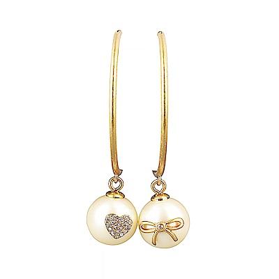 kate spade經典珍珠設計鑽鑲飾大耳環穿式耳環(金X白)