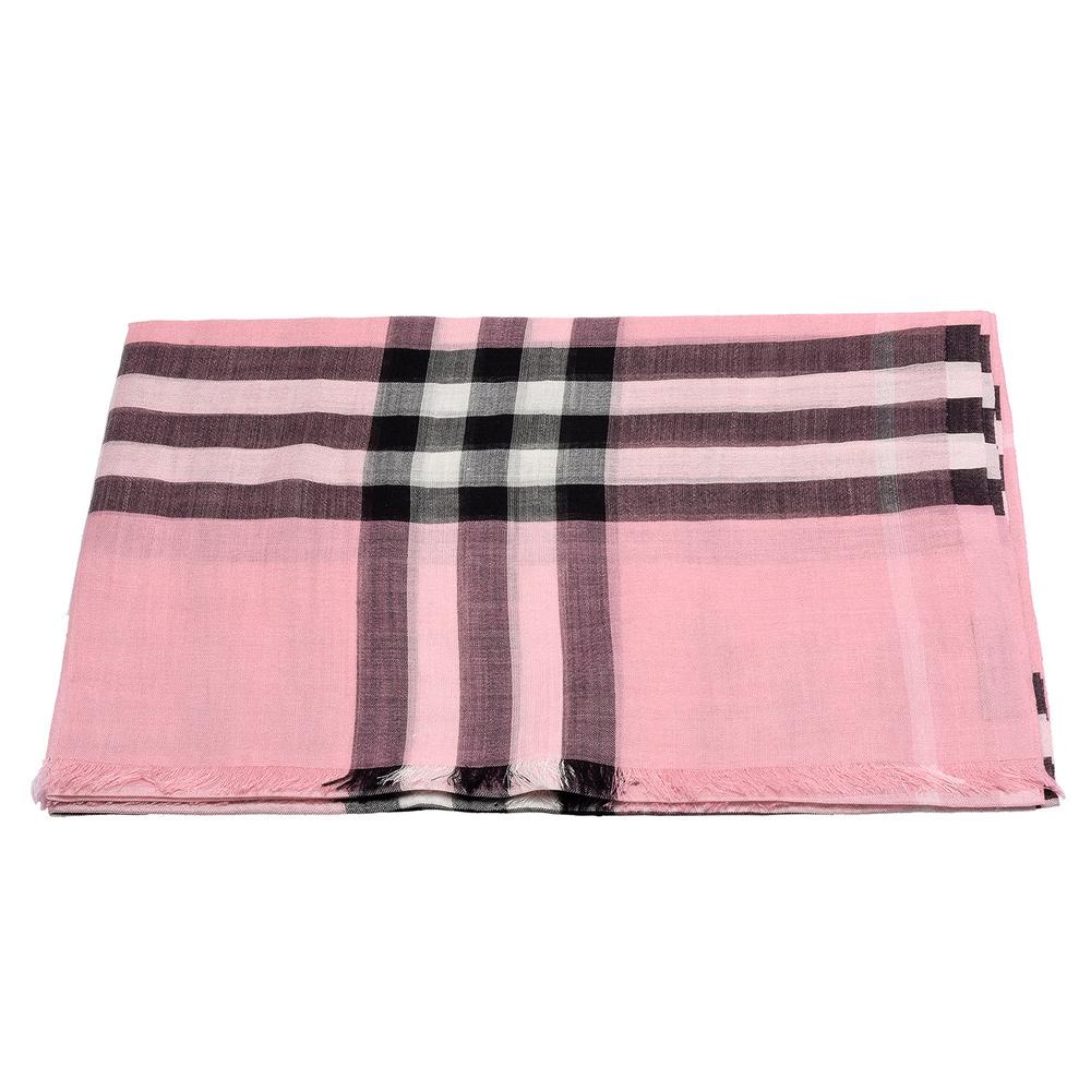 BURBERRY 經典格紋輕盈羊毛混絲圍巾(煙燻玫瑰色)