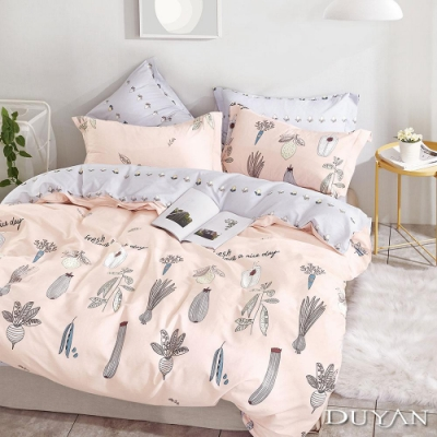 DUYAN竹漾 100%精梳純棉 雙人加大四件式舖棉兩用被床包組-慢活小日子 台灣製