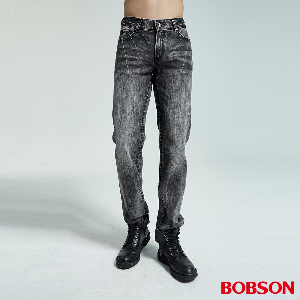 BOBSON 男款仿皮繡花黑灰中直筒褲