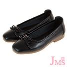 JMS-通勤經典款素面蝴蝶結牛皮娃娃鞋-黑色