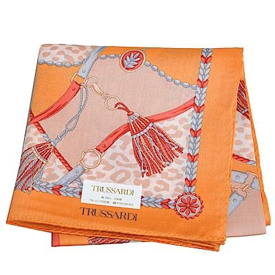 TRUSSARDI 經典品牌流蘇圖騰LOGO豹紋圖騰大帕領巾(橘色系)