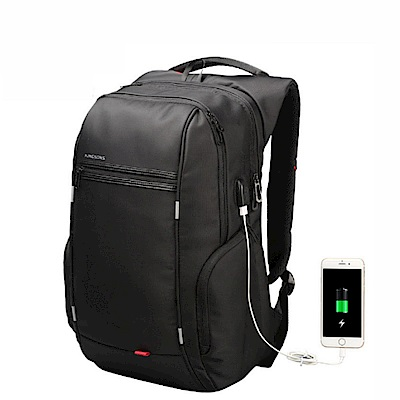 leaper KINGSONS USB充電防水防盜17.3吋筆電雙肩後背包 黑色