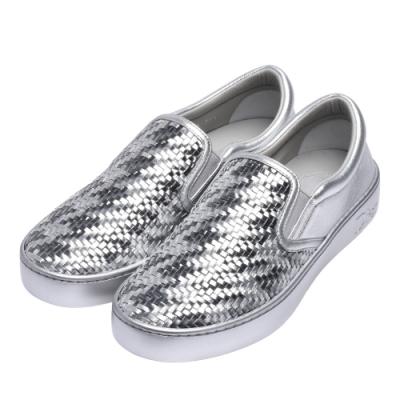 Dior 編織金屬光澤牛皮橡膠鞋底休閒鞋(銀色)
