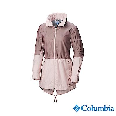 Columbia 哥倫比亞 女款-防潑水長版風衣-粉紅 UWR01610PK