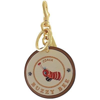 COACH 皮革金蔥圖樣圓型鑰匙圈(蜜蜂)
