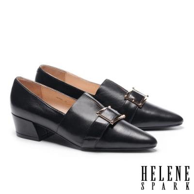 高跟鞋 HELENE SPARK 紳士典雅金屬釦羊皮尖頭粗高跟鞋-黑