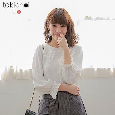 東京著衣 宮廷浪漫蕾絲公主袖雪紡上衣-S.M.L(共兩色)