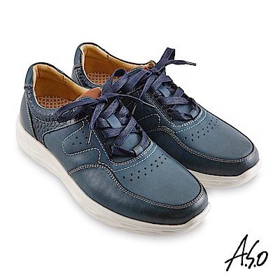 A.S.O機能休閒 超能耐II代運動風綁帶休閒鞋-藍